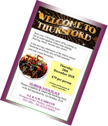 Download our THURSFORD CHRISTMAS EXTRAVAGANZA Thursday 20th December 2018 – Matinee Ticket & Return Coach Travel leaflet and booking form